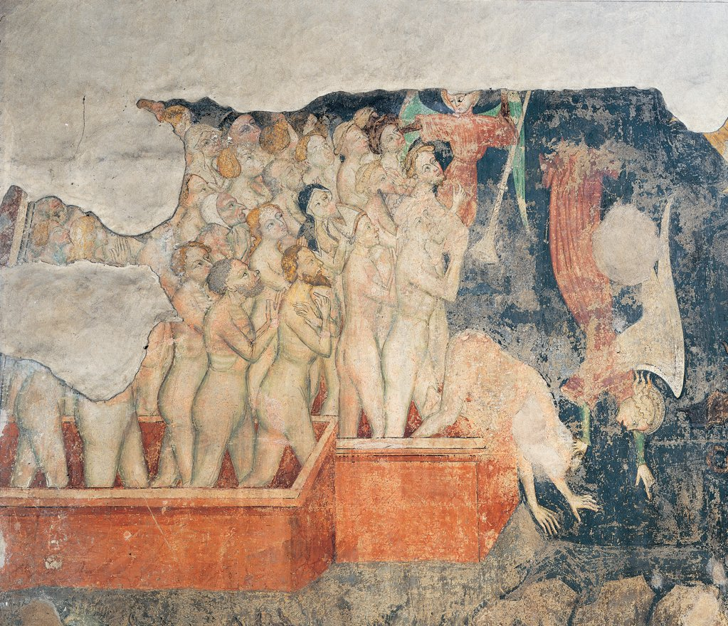 Last Judgment, by Unknown artist, 14th Century, fresco. Italy: Lombardy: Lodi: Vergine Assunta Basilica Cathedral: Duomo. Detail of the legions of the damned souls red blue : Stock Photo