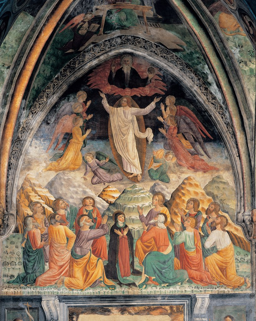 Ascension of Christ, by Unknown artist, 15th Century, fresco. Italy: Lombardy: Lodi: San Francesco church: terza campata della navata destra. Whole artwork. Ascension of Christ orange red blue green : Stock Photo