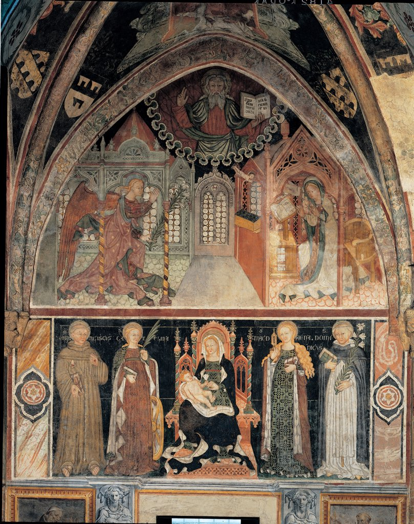 Stock Photo: 1899-44665 Annunciation and Eternal Father blessing: Madonna and Child Enthroned and Sts Francis, Catherine of Alexandria, Mary Magdalene and Dominic, by Unknown artist, 15th Century, fresco. Italy: Lombardy: Lodi: San Francesco church: 4th bay of the aisle. Whole artwork. Episode Annunciation and Eternal Father blessing Madonna with Child enthroned and Sts Francis Catherine of Alexandria Mary Magdalene and Dominic