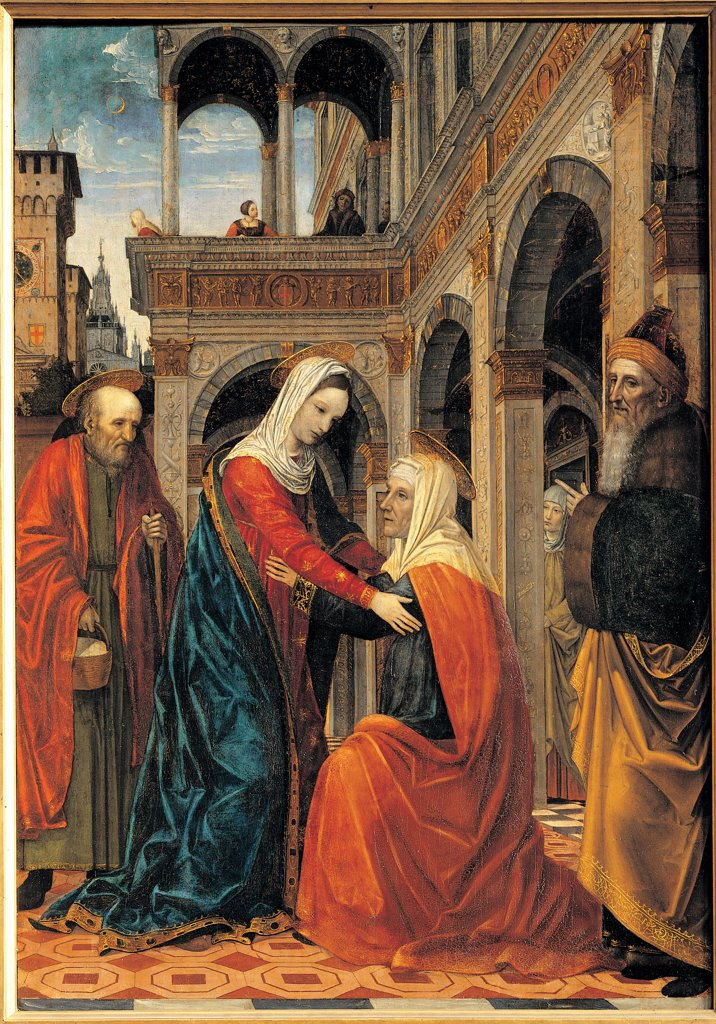 Visitation of the Virgin Mary to St Elizabeth, by Ambrogio da Fossano known as Bergognone, 15th Century, panel. Italy: Lombardy: Lodi: Incoronata sanctuary. Whole artwork. Visitation of the Virgin Mary to St Elizabeth blue red house : Stock Photo