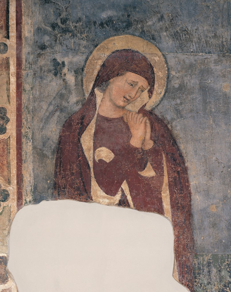 Stock Photo: 1899-44676 The Crucifixion, by Master of the Tree of Life, 14th Century, fresco. Italy: Lombardy: Bergamo: former Convent of San Francesco. Detail. The Virgin Mary frame/cornice blue red yellow face weeping/crying/tears aureole/halo