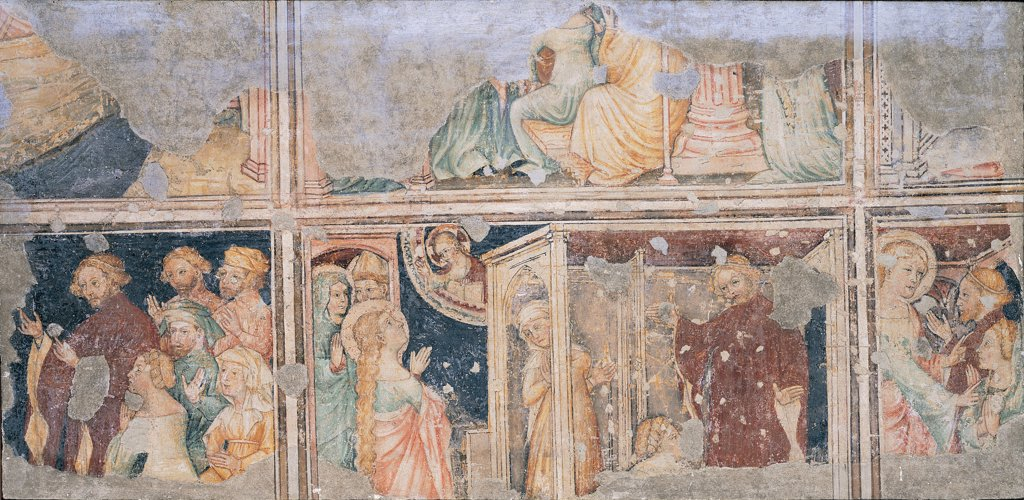 Stories of St Mary Magdalene, by Unknown artist, 14th Century, detached fresco. Italy: Lombardy: Bergamo: Palazzo della Ragione: gia in Santa Maria Maddalena. Stories of St Mary Magdalene blue red yellow : Stock Photo