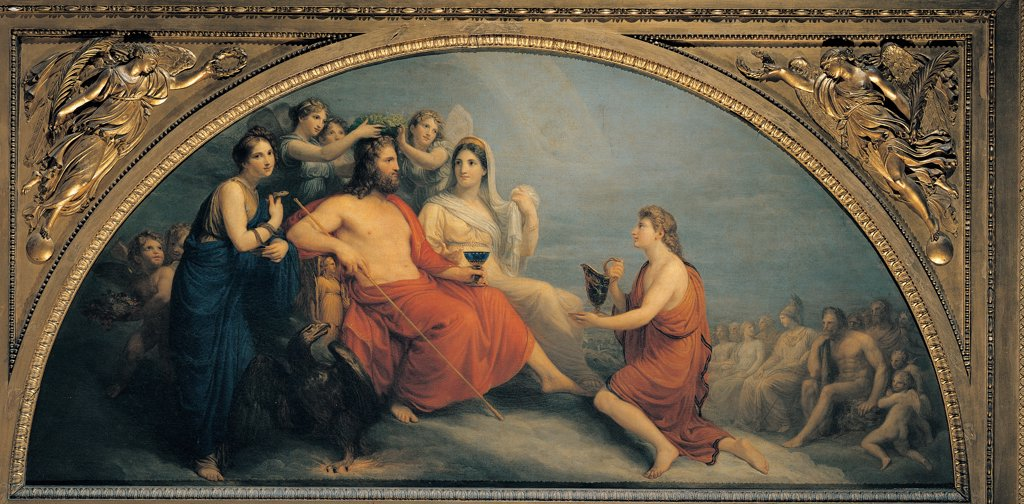 Stock Photo: 1899-44690 The Olympus, by Appiani Andrea, 1806, 19th Century, oil on canvas. Italy: Lombardy: Milan: Brera Art Gallery. Whole artwork. Olympus Coronation of Jupiter red mantle/cloak frame bare chest