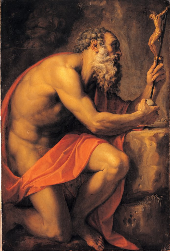 Stock Photo: 1899-44703 Saint Jerome, by Carracci Agostino, 1557 - 1602, 16th Century -17th Century, oil on canvas. Italy: Campania: Naples: Capodimonte National Museum and Galleries. Whole artwork. St Jerome/Hyeronimus beard red mantle Crucifix rock elder/old man