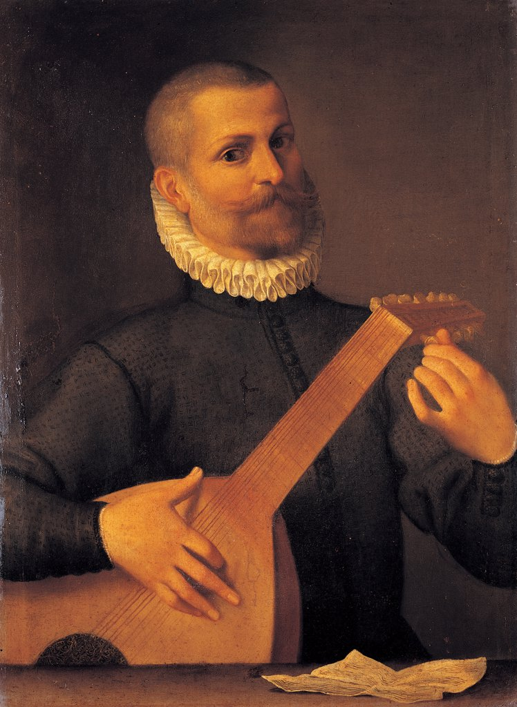 Stock Photo: 1899-44704 The Mandola Player, by Carracci Agostino, 1557 - 1602, 16th Century -17th Century, oil on canvas. Italy: Campania: Naples: Capodimonte National Museum and Galleries. Whole artwork. Player/musician mandola neck to tune up to play scroll white black brown beard mustache
