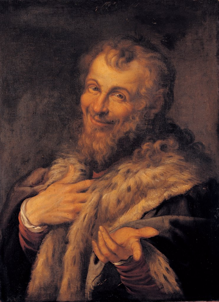 Stock Photo: 1899-44705 Male Portrait, by Carracci Agostino, 1557 - 1602, 16th Century -17th Century, oil on canvas. Italy: Campania: Naples: Capodimonte National Museum and Galleries. Whole artwork. Male portrait smiling man beard fur hands brown