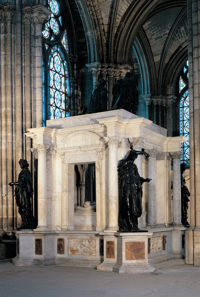 Stock Photo: 1899-44710 Tomb of Henry II and Caterina de' Medici in the Basilica of St Denis in Paris, by Primaticcio Francesco, 1561 - 1570, 16th Century, . France: Ile de France: Paris: St Denis Basilica. Partial view front view monumental tomb funerary aedicula King Henry II Valois Abbey Saint-Denis Paris facade entrance Corinthian columns