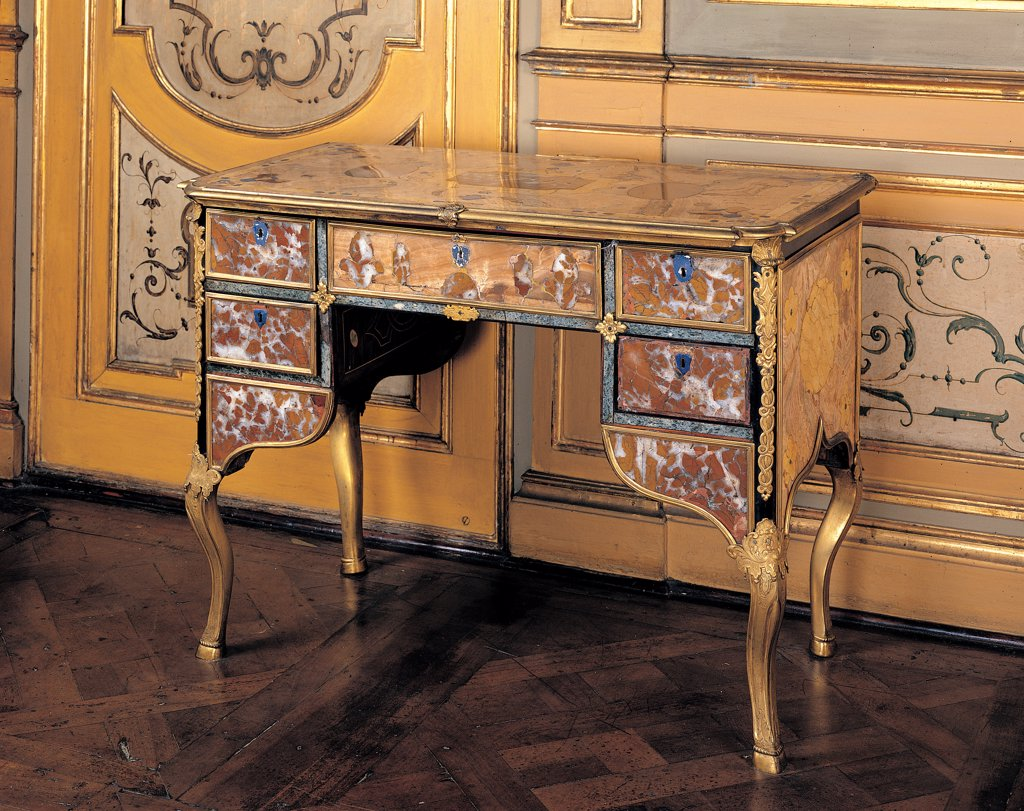 Stock Photo: 1899-44715 Writing desk, by Piedmont Work, 18th Century, inlaid marbles and gilded metal. Italy: Piemonte: Turin: Royal Palace. Whole artwork. Writing desk drawers top marbles volutes rinceaux