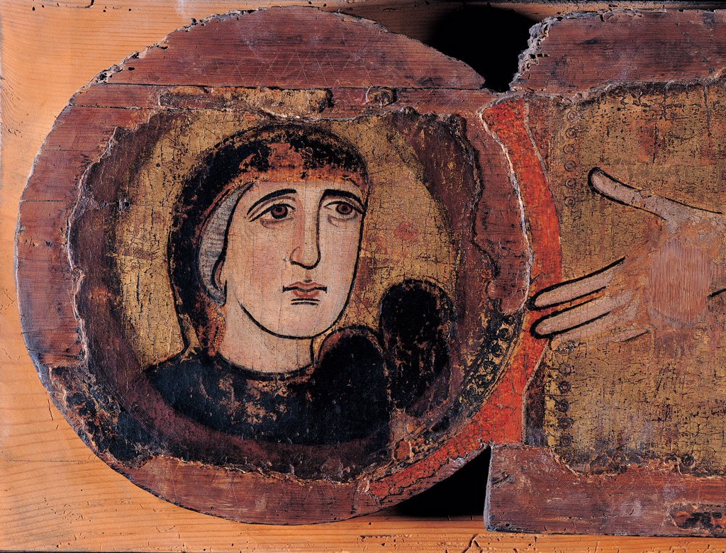 Painted Cross, by Unknown artist, 12th Century, tempera on panel. Italy: Lazio: Latina: Fondi: San Pietro Apostolo church. Detail. Face of the Virgin Mary of Sorrows halo/aureole tondo black red : Stock Photo