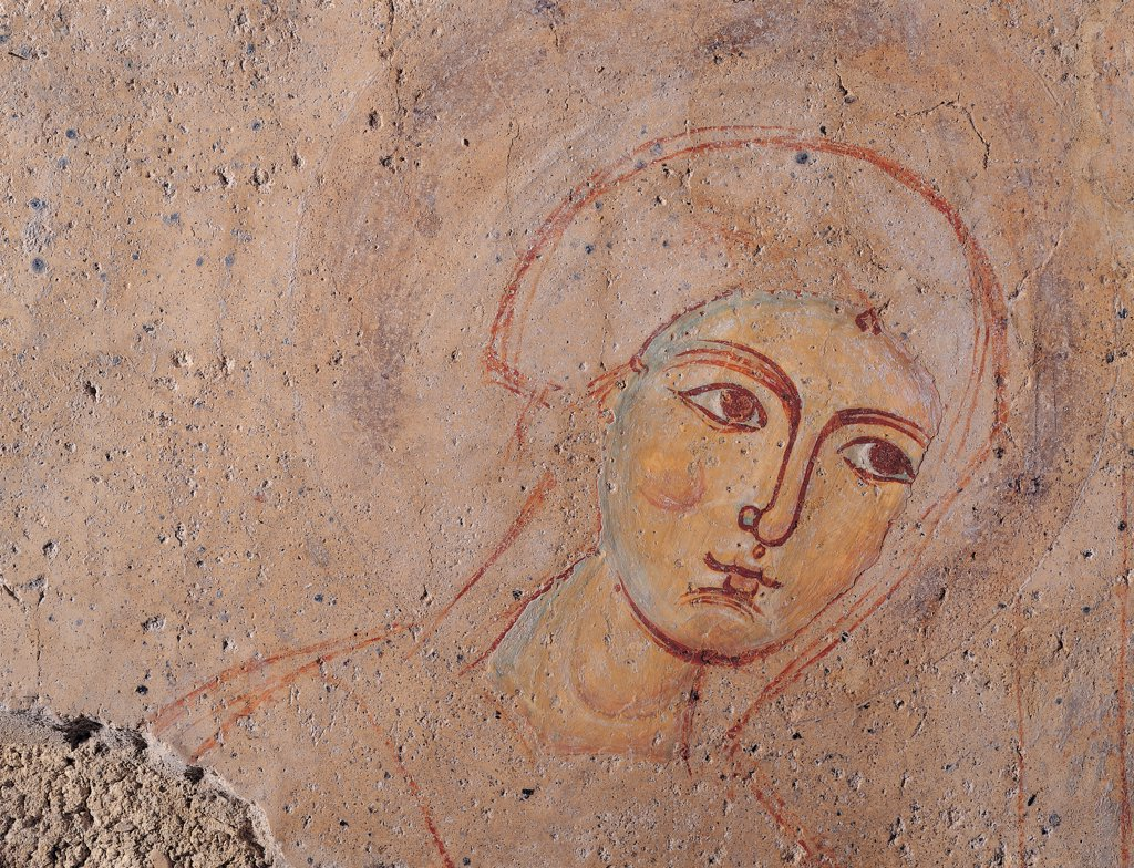 Scene of the Apparition of Our Lady to Cripple Remingarda, by Unknown artist, 12th Century, fresco. Italy: Lazio: Frosinone: Ausonia: Santa Maria del Piano Sanctuary: crypt apse. Detail. Face Madonna : Stock Photo