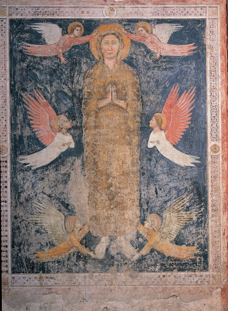 Stock Photo: 1899-44733 Saint with Angels, by Unknown artist, 14th Century, fresco. Italy: Veneto: Verona: Sant'Anastasia church: Cavalli Chapel. Whole artwork. Saint standing with clasped/joined hands halo/aureole angels cherubim seraphim