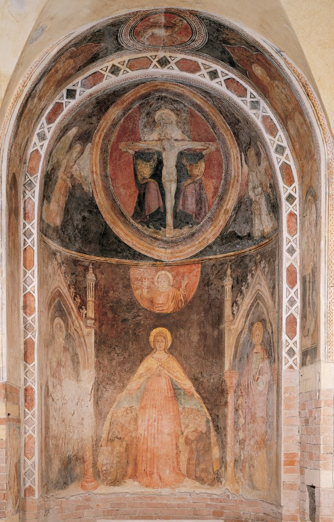 Stock Photo: 1899-44734 Our Lady of Mercy and Trinity, by Unknown artist, 15th Century, fresco. Italy: Veneto: Verona: San Giovanni in Fonte church: right apse. Whole artwork. Decorated apse with frescoes lower register with Our Lady of Mercy welcomes suppliants under her mantle/cloak in the conch within mandorla representation of the Trinity