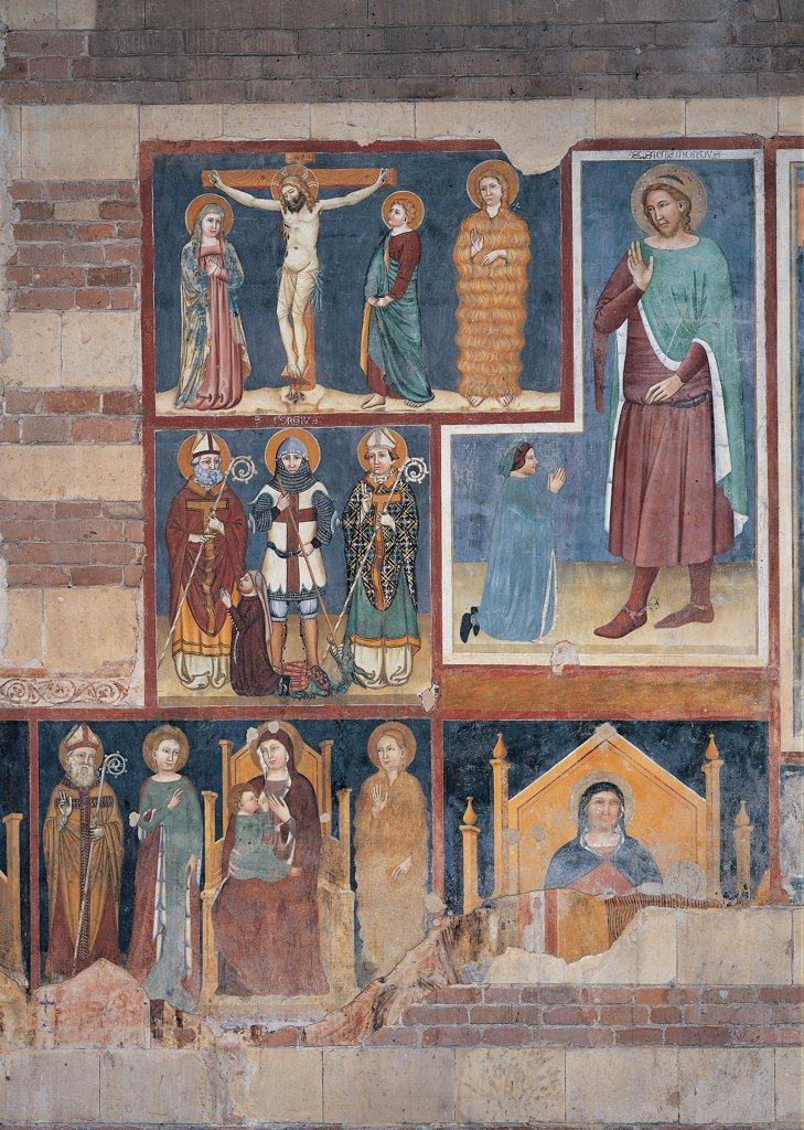Frescos of the north aisle, by Maestro di San Giorgio e il drago a San Zeno, 14th Century, fresco. Italy. Veneto. Verona. San Zeno Maggiore basilica. Detail. Some panels Jesus Christ crucified between Virgin Mary St John and St Mary Magdalene St George and the dragon between two Saint Bishops clients. Fresco painters of Verona of St Sigismund and a devotee Madonna with the Child Enthroned : Stock Photo