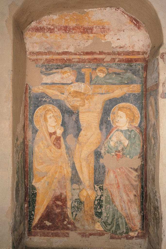 Stock Photo: 1899-44745 Crucifixion, by Verona Artist, 13th Century, fresco. Italy: Veneto: Verona: Santo Stefano church. Whole artwork. Scene of crucifixion represented in a niche naked Christus patiens on the cross angels Madonna Mary St John the Evangelist
