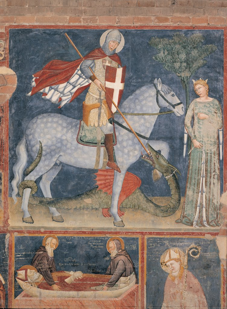 Stock Photo: 1899-44748 St George and the Princess, by Master of the Last Judgment, 14th Century, fresco. Italy: Veneto: Verona: San Zeno in Oratorio Church. Whole artwork. Panel scene St George knight crossed shield mantle/cloak helmet lance/spear St George kills the dragon and saves/rescues the princess crown