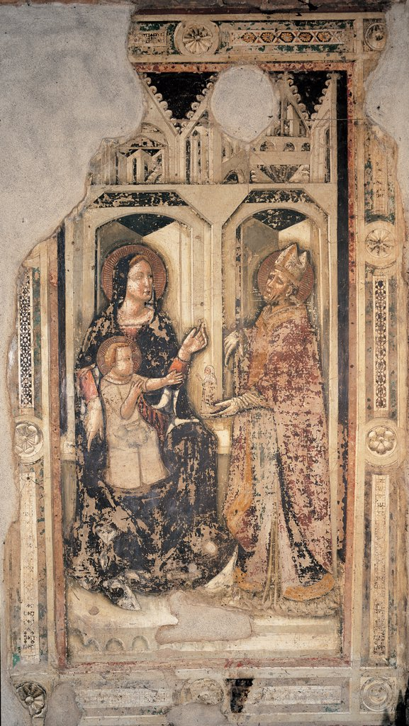 Enthroned Madonna and Child with a Bishop Saint, by perhaps by Pseudo Jacopino, 14th Century, fresco. Italy: Veneto: Verona: Sant'Anastasia church: Salerni Chapel. Whole artwork. Square scene of enthroned Madonna and Child/Baby Jesus/Christ Child/Child Jesus bishop saint addressing her late Gothic architectures frame of the Renaissance square : Stock Photo
