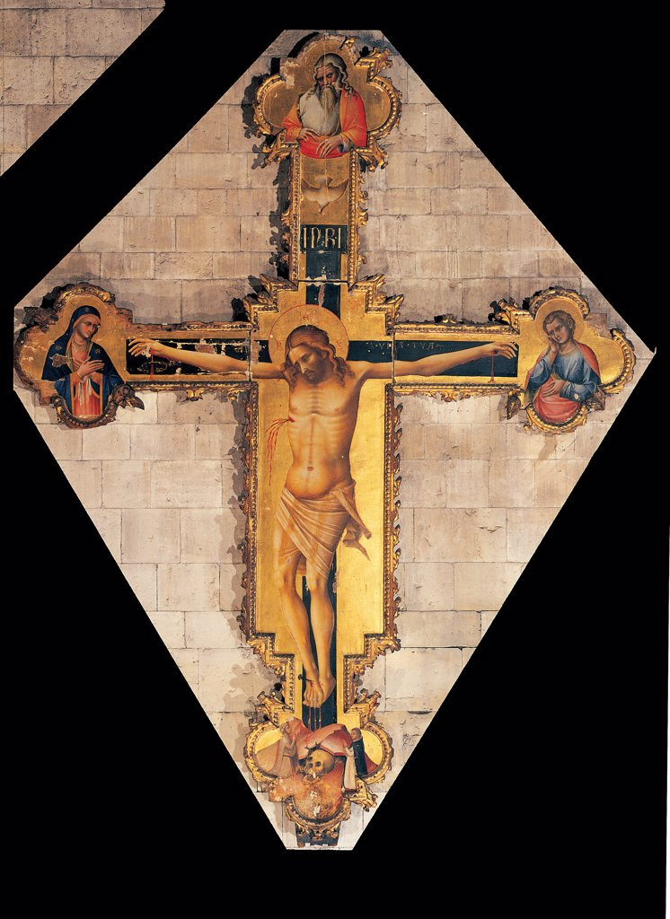 Station Crucifix (Crux Stationalis), by Lorenzo Veneziano, 14th Century, . Italy. Veneto. Verona. San Zeno Maggiore basilica. Whole artwork. Station Crucifix (Crux Stationalis) golden background Christus Patiens lobate ends. Below of a skull as a symbol of the Calvary/Golgotha. Right of half-length figure of St John. Left of Virgin Mary Top of God the Father : Stock Photo