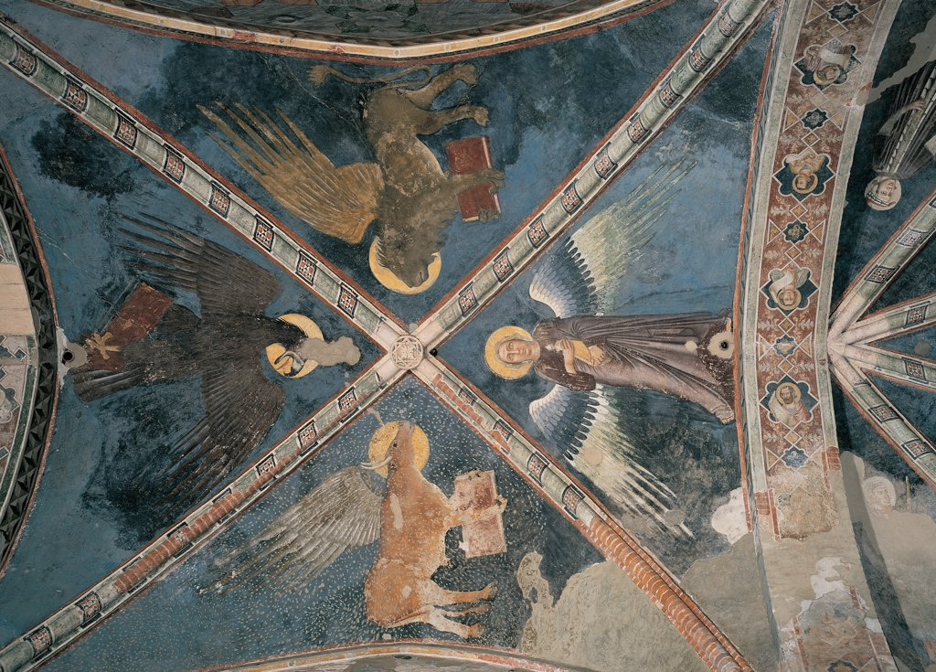 The Four Evangelists, by Master of the Redeemer, 14th Century, fresco. Italy: Veneto: Verona: San Fermo Maggiore Church. Whole artwork. Vaulting webs separated by decorated ribs. The decoration of the ribs includes no icons/figures/religious imagery. St Lucas Bull St Mark Lion St John Eagle St Matthew Angel : Stock Photo