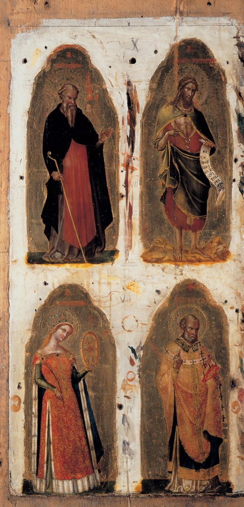 Polyptych of St Maria della Celestia (Virgin and Child with Saints), by Lorenzo Veneziano, 1372, 14th Century, tempera and oil on panel. Italy: Lombardy: Milan: Brera Art Gallery. Detail. The four left side panels with St Anthony the Abbot, St John the Baptist, St Catherine and St Nicholas. The frame is missing. Attributes/symbols scroll/cartouche wheel martyrs : Stock Photo