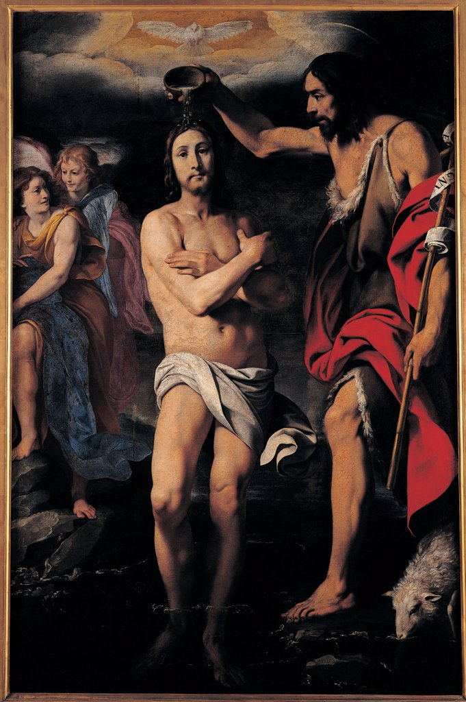 The Baptism of Christ, by Crespi Daniele, 1629 - 1630, 17th Century, oil on canvas. Italy: Lombardy: Milan: Brera Art Gallery. Whole artwork. Baptism Jesus Christ standing front view St John the Baptist loincloth animal skins drapery/draping stick staff scroll cup symbols lamb sacrifice dove Holy Ghost/Holy Spirit pair of angels : Stock Photo