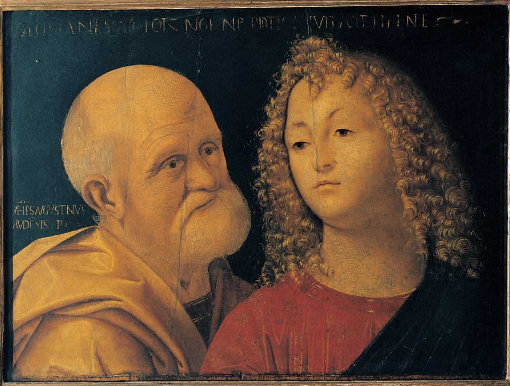 Stock Photo: 1899-44801 St Peter and St John the Evangelist, by Giovanni Agostino da Lodi known as Pseudo Boccaccino, 15th Century, tempera and oil on canvas. Italy: Lombardy: Milan: Brera Art Gallery: Reg. Cron. 2119. Whole artwork. St Peter and St John the Evangelist three-quarter figure head face old/aged man young man fair curls/ringlets beard moustache white garment/dress mantle/cloak red yellow