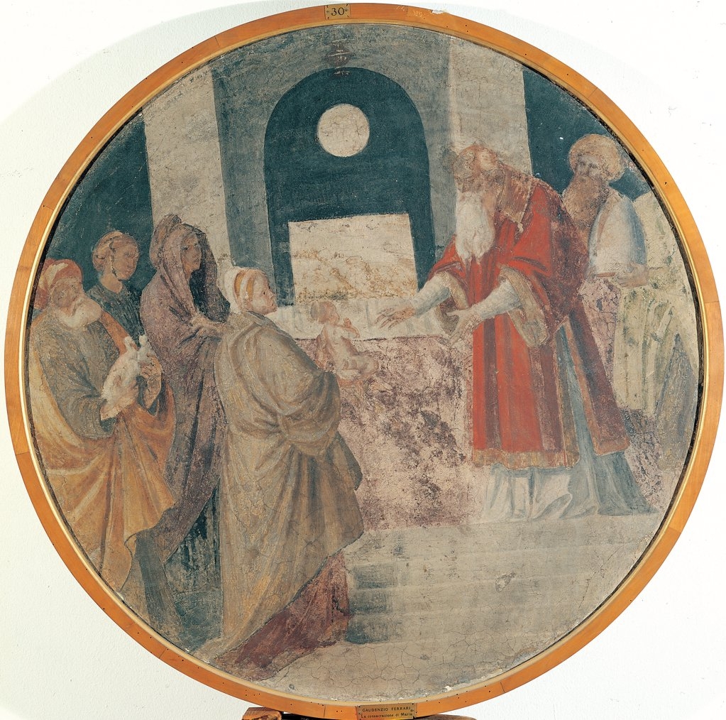 Stock Photo: 1899-44806 Stories of the Virgin of Presentation at the Temple, by Ferrari Gaudenzio, 1539 - 1539, 16th Century, fresco transferred to canvas, wooden frame. Italy: Lombardy: Milan: Brera Art Gallery: gia nella Cappella della Nativita della Vergine in Santa Maria della Pace a Milano. Whole artwork. Tondo clipeus Presentation at the Temple Virgin Mary Madonna Joachim Anne offering of doves altar priest