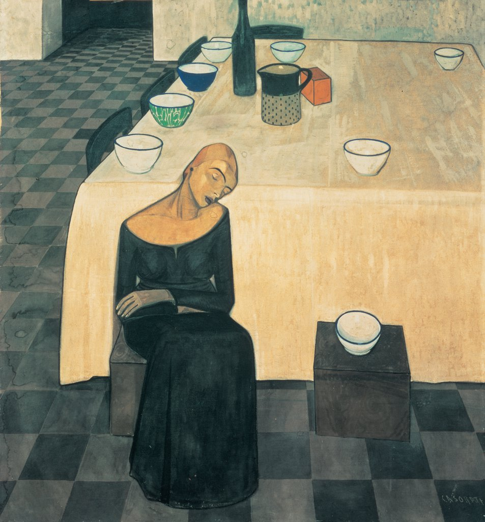 A Woman (The Wait), by Casorati Felice, 1918, 20th Century, tempera on canvas. Private collection. Whole artwork. Woman table stools chairs crockery bowls plates dishes bottle carafe box tablecloth floor chess white black red green beige : Stock Photo