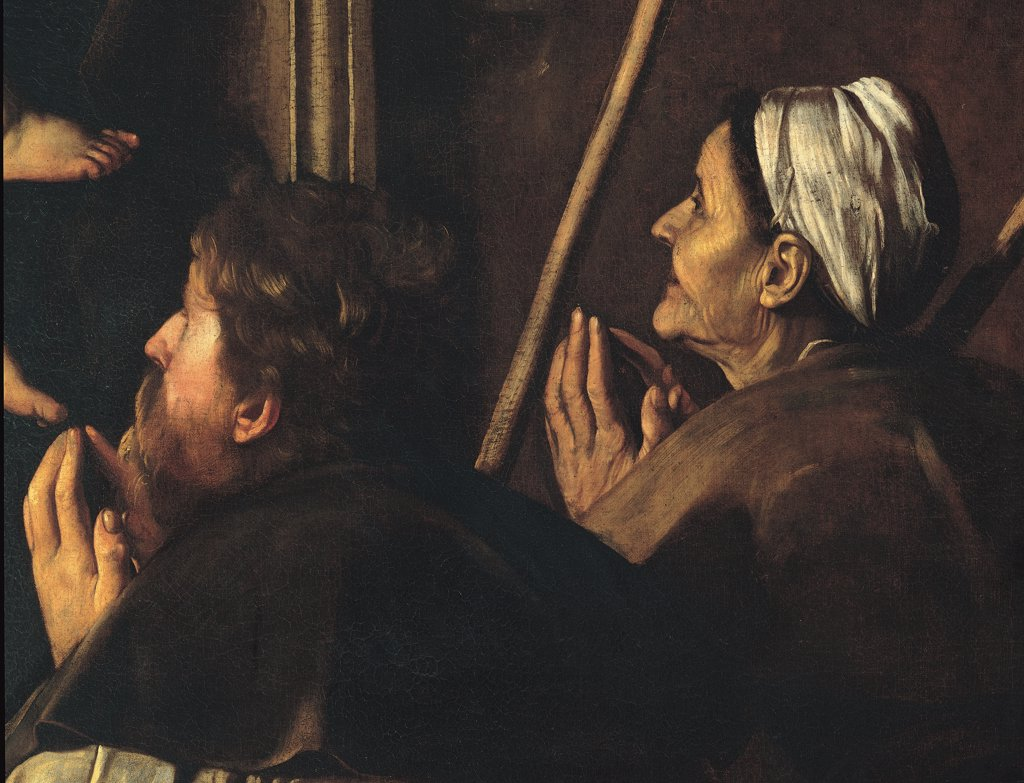 Stock Photo: 1899-44824 Madonna di Loreto, by Merisi Michelangelo known as Caravaggio, 1604 - 1606, 17th Century, oil on canvas. Italy: Lazio: Rome: Sant'Agostino Church. Detail. Couple faces pilgrims kneeling sticks joined hands man beard old wrinkles