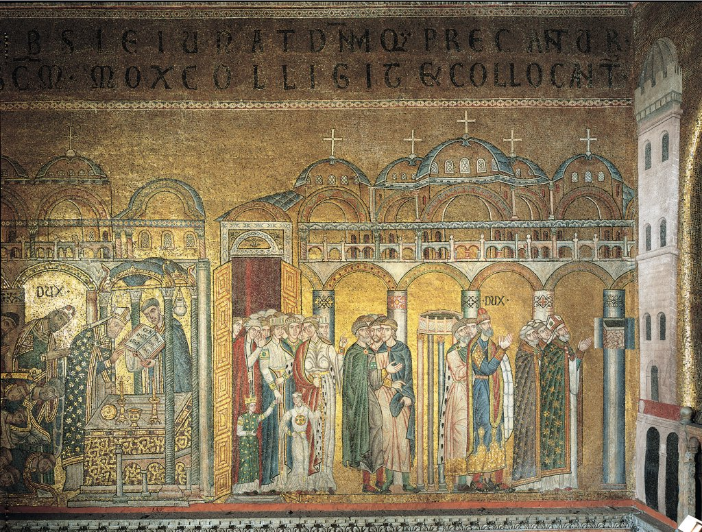Stock Photo: 1899-44830 Prayer for the finding of the body and apparition of the body, by Unknown artist, 13th Century, . Italy: Veneto: Venice: San Marco Basilica. Whole artwork. Prayer community women men joined hands kneeling bishops mitre pallium altar ciborium saint St Mark interior church columns arches gold white green red inscription