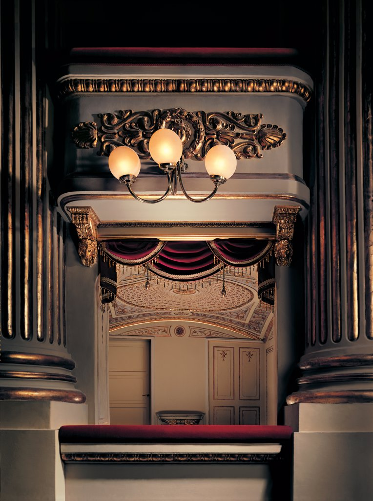 Stock Photo: 1899-44851 Views of the Teatro alla Scala, Milan, after its restoration in 2004, by Piermarini Giuseppe, 2004, 21st Century, . Italy: Lombardy: Milan: Teatro alla Scala. Detail. Proscenium chandelier gold frame/cornice concert hall box first tier/circle palco Litta (Litta box) red