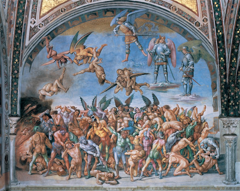 The Last Judgment. The Lost Souls in Hell, by Signorelli Luca, 1499 - 1502, 15th Century, fresco. Italy: Umbria: Terni: Orvieto: Cathedral: San Brizio Chapel. Whole artwork. Demons damned/lost souls women nude/naked men wings horns sky light blue/azure despair muscles twisted bodies : Stock Photo