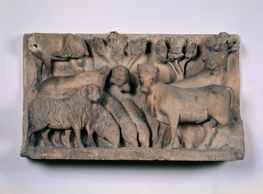 Stock Photo: 1899-44923 Animals, by Arnolfo di Cambio, workshop Arnolfo di Cambio, 1296 - 1310, 13th Century -14th Century, marble. Italy: Tuscany: Florence: Opera di Santa Maria del Fiore Museum. Whole artwork. Animals flocks sheep oxen