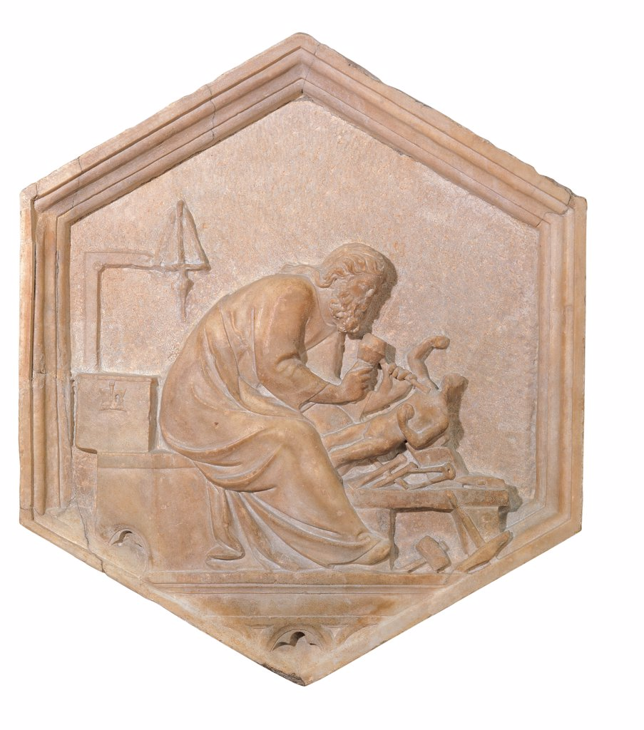 Sculpture, by Andrea da Pontedera known as Andrea Pisano, 1334 - 1336, 14th Century, marble. Italy: Tuscany: Florence: Opera di Santa Maria del Fiore Museum. Whole artwork. Marble hexagon scene study sculpture man statue scalpel tools hammer drill : Stock Photo