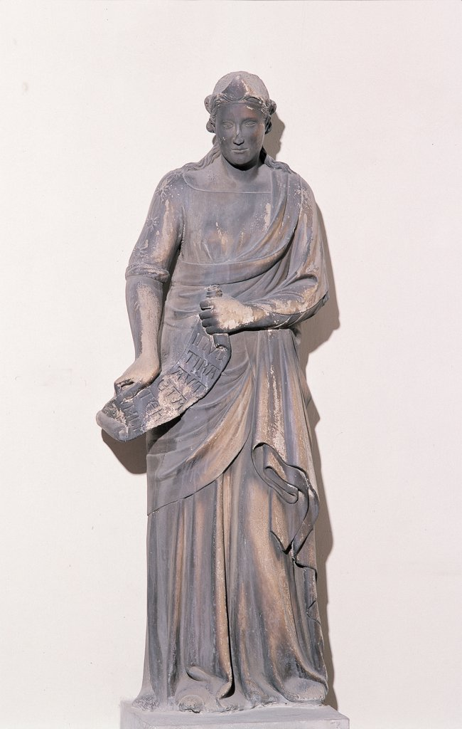Erythraean Sibyl, by Andrea da Pontedera known as Andrea Pisano, 1337 - 1341, 14th Century, marble. Italy: Tuscany: Florence: Opera di Santa Maria del Fiore Museum. Whole artwork. Statue young woman sibyl marble peplum drapery scroll : Stock Photo