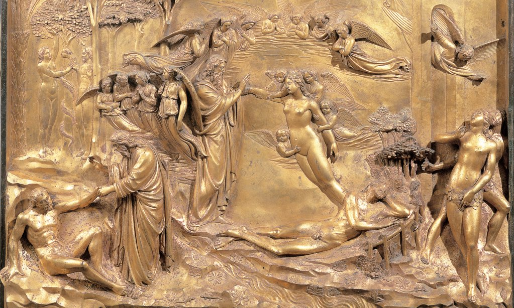 Creation of Adam and Eve, by Ghiberti Lorenzo, 1425 - 1452, 15th Century, casting bronze, chased and gilded. Italy: Tuscany: Florence: Opera di Santa Maria del Fiore Museum. Detail. Panel gold decoration creation Adam Eve Eden Paradise God angels : Stock Photo