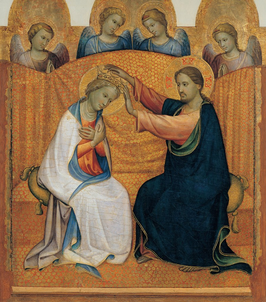 Stock Photo: 1899-45004 Coronation of the Virgin, by Starnina Gherardo, 1404, 15th Century, tempera and oil on panel. Italy: Emilia Romagna: Parma: National Gallery of Art. Whole artwork. Coronation/Crowning of the Virgin Mary Jesus Christ sitting pillows aureoles/halos gold crown drapery drape/cloth pleats/creases angels white stars on the Virgin Mary's mantle/cloak light blue/azure orange black pink yellow dark tones/hues/shades light blue