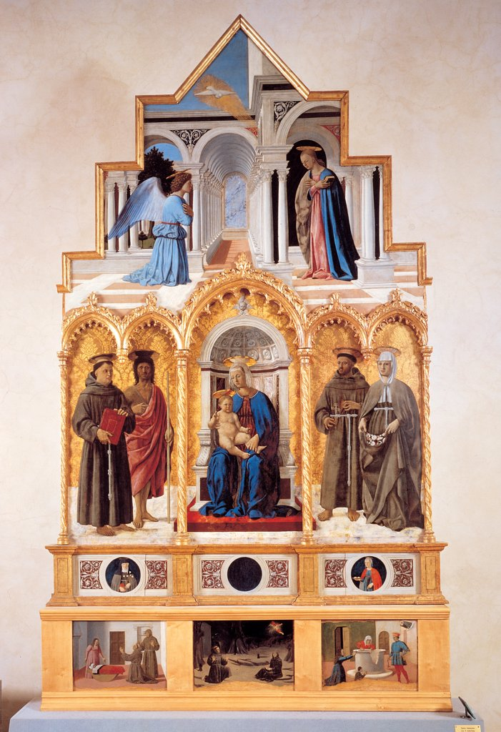 Stock Photo: 1899-45005 Polyptych of St Anthony (or of Perugia), by Pietro di Benedetto dei Franceschi known as Piero della Francesca, 1478 - 1485, 15th Century, oil and tempera on poplar panels. Italy: Umbria: Perugia: The National Gallery of Umbria: gia in Sant'Antonio delle Monache. Whole artwork. Coping Annunciation Virgin Madonna and Child enthroned among saints Anthony of Padua John Baptist Francis Elisabeth of Hungary altar predella st Clare st Lucy Miracle of St Anthony Stigmata of St Francis Miracle of St Elis