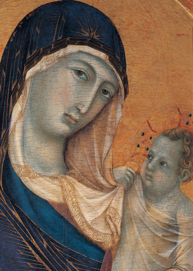 Madonna and Child with Six Angels, by Duccio di Buoninsegna, 1304 - 1311, 14th Century, gold and tempera on panel. Italy. Umbria. Perugia. The National Gallery of Umbria. Detail of faces of the Virgin and Child. Veil pleats archaic face Byzantine superciliary arch. Tender gesture of Baby Jesus/Christ Child/Child Jesus who playing with the veil of Virgin Mary. Blue rose orange brown tones cream color aureole/halo nimbus : Stock Photo