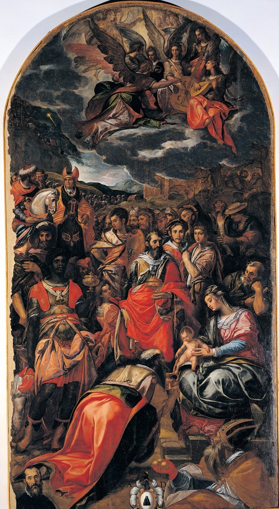 The Adoration of the Magi, by van den Broeck Hendrick known as Arrigo Fiammingo, 1519 - 1597, 16th Century, panel. Italy: Umbria: Perugia: The National Gallery of Umbria. Whole artwork. The Adoration of the Magi semicircular cyma/cymatium/moulding Madonna and Child multitude of bystanders/onlookers angels clouds red black white gray pink light blue/azure : Stock Photo