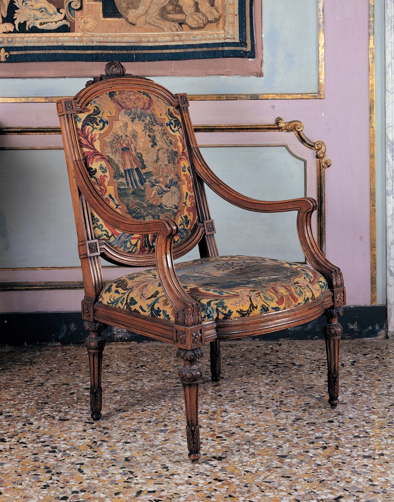 Stock Photo: 1899-45014 Armchair, by Genoan workmanship, 18th Century, . Italy: Liguria: Genoa: Royal Palace. View padded/upholstered chair armchair