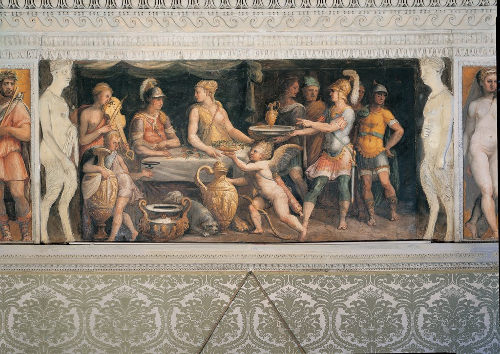 Stock Photo: 1899-45029 The Banquet of Dido and Aeneas, by Anonymous artist, 16th Century, fresco. Italy: Lazio: Rome: Palazzo Spada: Stanza di Enea. Whole artwork. Square Aeneas hero Dido goddess banquet laid table tablecloth putto soldiers cuirasses helmet servants musician violet/purple dog amphora kantharos frame human figures caryatids