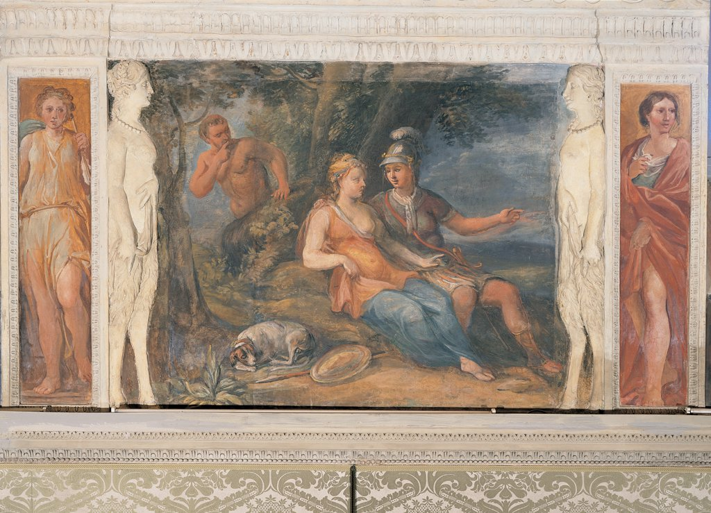 Stock Photo: 1899-45031 The Love Affair of Dido and Aeneas, by Anonymous artist, 17th Century, fresco. Italy: Lazio: Rome: Palazzo Spada: Stanza di Enea. Whole artwork. Leafy branches tree naked man peeping man spy probably Hermes Aeneas hero cuirass helmet plume Dido queens woman love lovers dog shield lances/spears square human figures caryatids