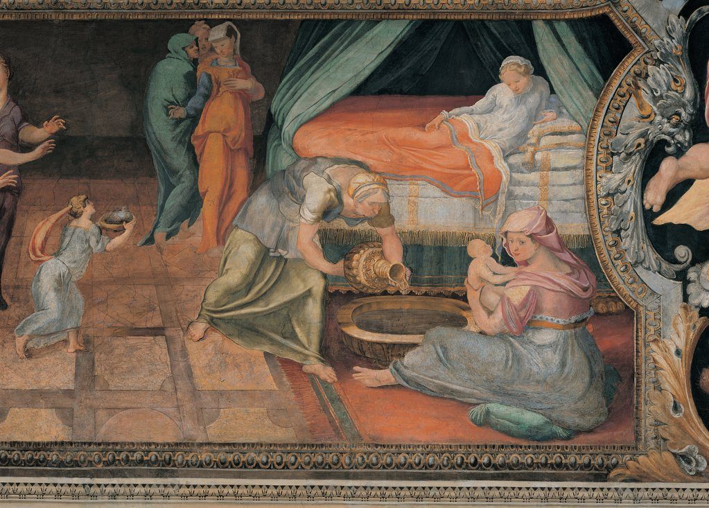 Stock Photo: 1899-45033 Birth of Achilles, by Anonymous artist, 16th Century, fresco. Italy: Lazio: Rome: Palazzo Spada: Stanza di Achille. Whole artwork. Birth newborn Achilles mother Thetis goddess bed canopy maid wet-nurse maid servants floor squares perspective white red brown