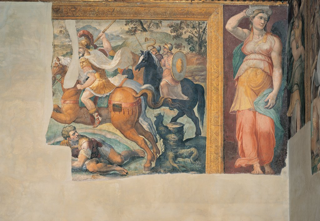 Stock Photo: 1899-45036 Battle Scene and Caryatid, by co-worker Siciolante Girolamo detto Sermoneta, 1550, 16th Century, fresco. Italy: Lazio: Rome: Palazzo Spada: Sala dei Fatti degli Antichi Romani. Detail. Wall fresco fragment battle spears/lances soldiers horses riders/horsemen flag plumed helmet armor/cuirass wounded soldier painted cornice frame female figure drapery/draping caryatid