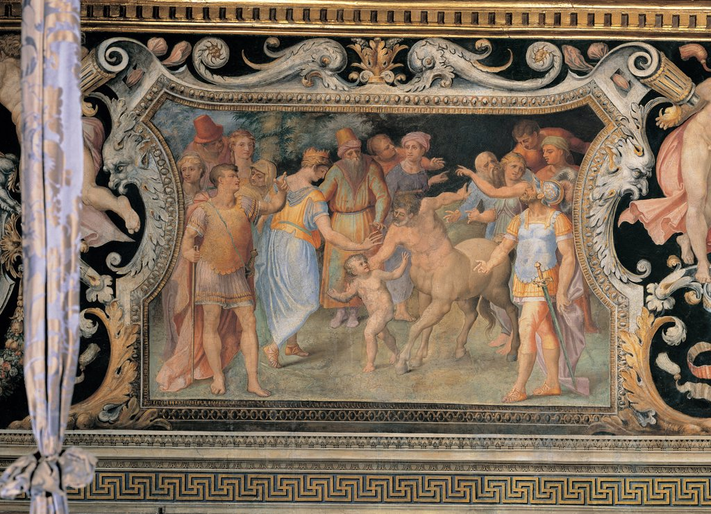 Thetis Entrusting the Infant Achilles to the Centaur Chiron, by Anonymous artist, 1550, 16th Century, fresco. Italy: Lazio: Rome: Palazzo Spada: Stanza di Achille. Whole artwork. Frame square grotesques vegetable patterns/motifs little boy Achilles hero centaur Chiron woman mother goddess Thetis soldiers cuirasses swords yellow light blue black white : Stock Photo