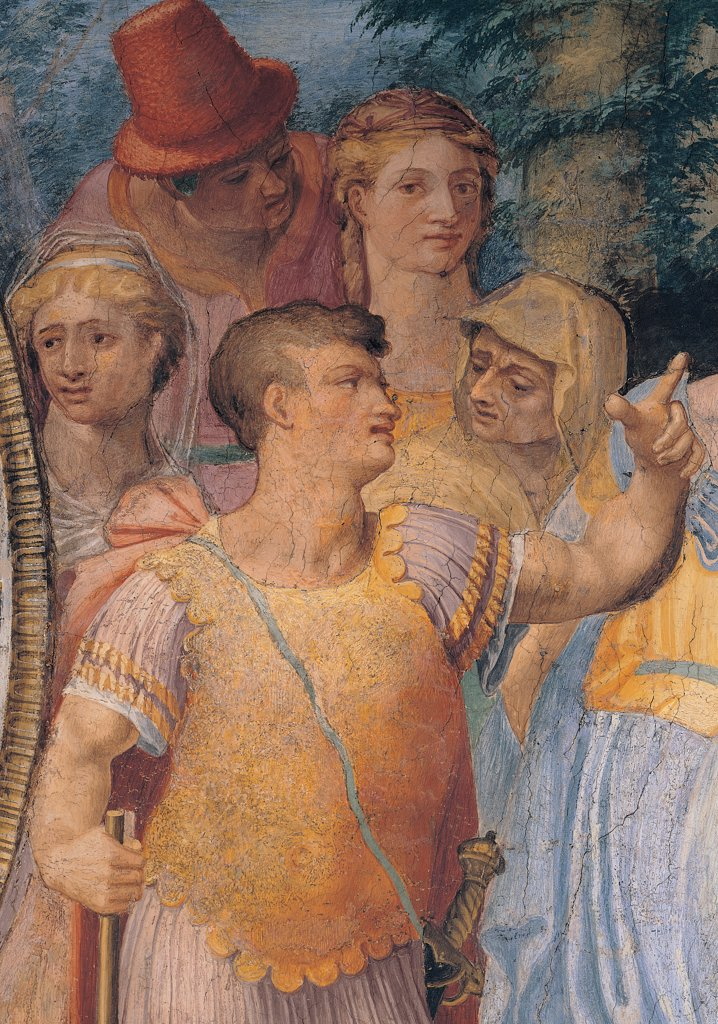 Thetis Entrusting the Infant Achilles to the Centaur Chiron, by Anonymous artist, 1550, 16th Century, fresco. Italy: Lazio: Rome: Palazzo Spada: Stanza di Achille. Detail. Soldier man cuirass sword gladius women crowd man headgear/headdress red yellow light blue/azure pink white : Stock Photo
