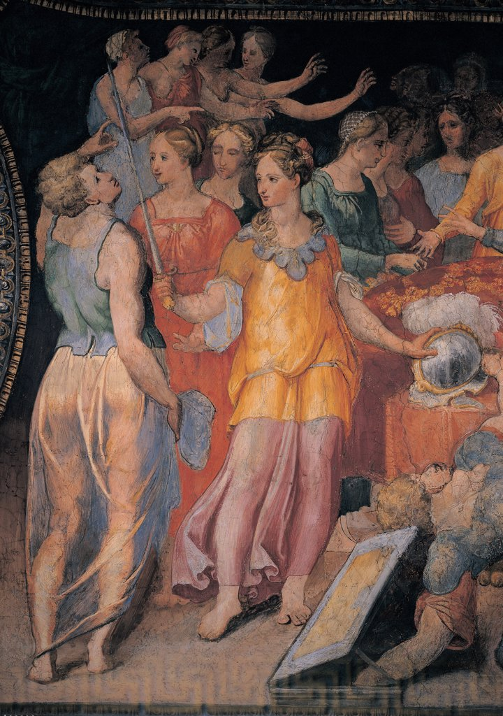Stock Photo: 1899-45050 Ulysses Unmasking Achilles, by Anonymous artist, 1550, 16th Century, fresco. Italy: Lazio: Rome: Palazzo Spada: Stanza di Achille. Detail. Women young girls king's daughters arms presents plumed helmet sword shield cuirass disguised Achilles orange light blue/azure red black white half-light