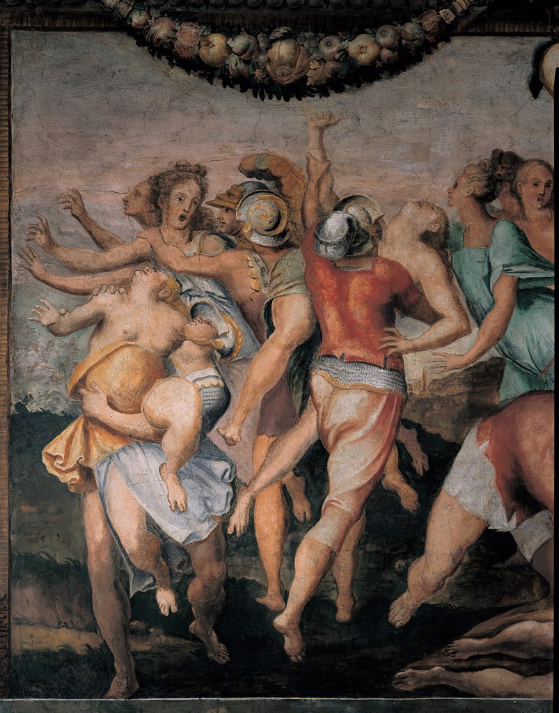 The Abduction of the Sabine Women, by follower Mazzoni Giulio, 1550, 16th Century, fresco. Italy: Lazio: Rome: Palazzo Spada: Stanza con storie dell'antica Roma. Detail. Abduction kidnapping Sabine women girls men Roman soldiers helmet cuirasses garland flowers fruits tangled limbs red yellow pink light blue/azure : Stock Photo