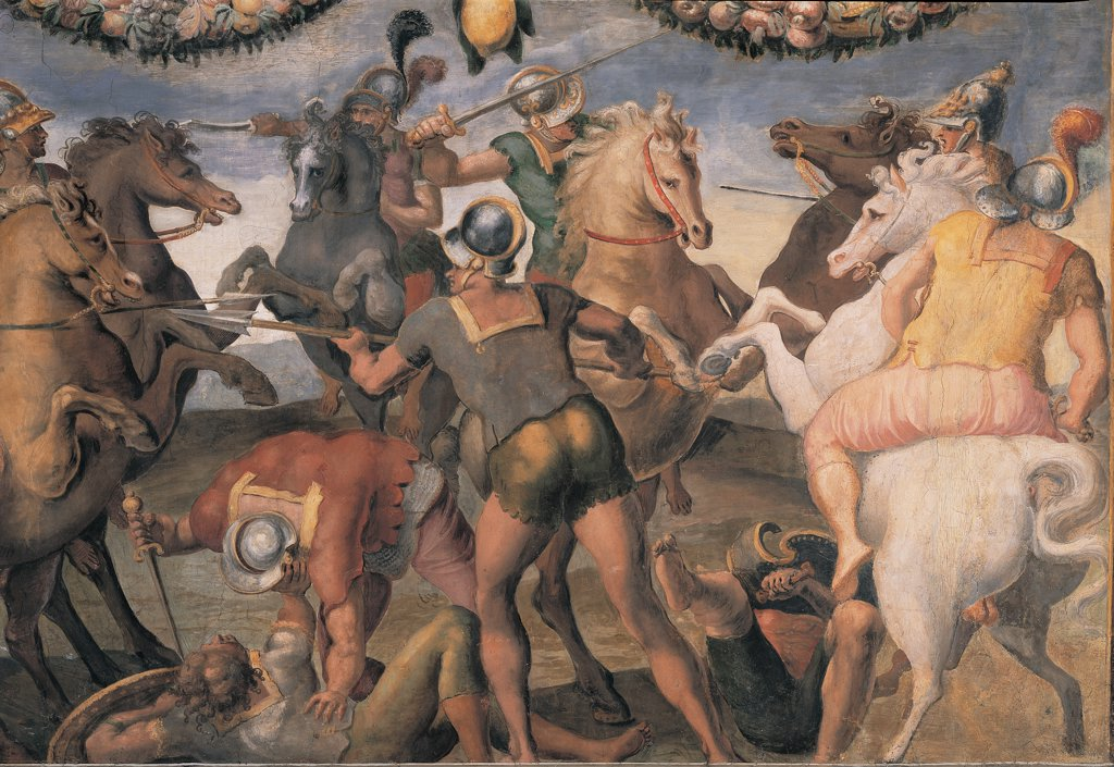 Sabines and Romans Engaged in Fighting, by follower Mazzoni Giulio, 1550, 16th Century, fresco. Italy: Lazio: Rome: Palazzo Spada: Stanza con storie dell'antica Roma. Whole artwork. Fight/battle painted frame men soldiers Romans Sabines fight/engagement horses reins cuirasses sword gladius helmet feathers/plumes lances/spears yellow pink red blue garlands festoons : Stock Photo