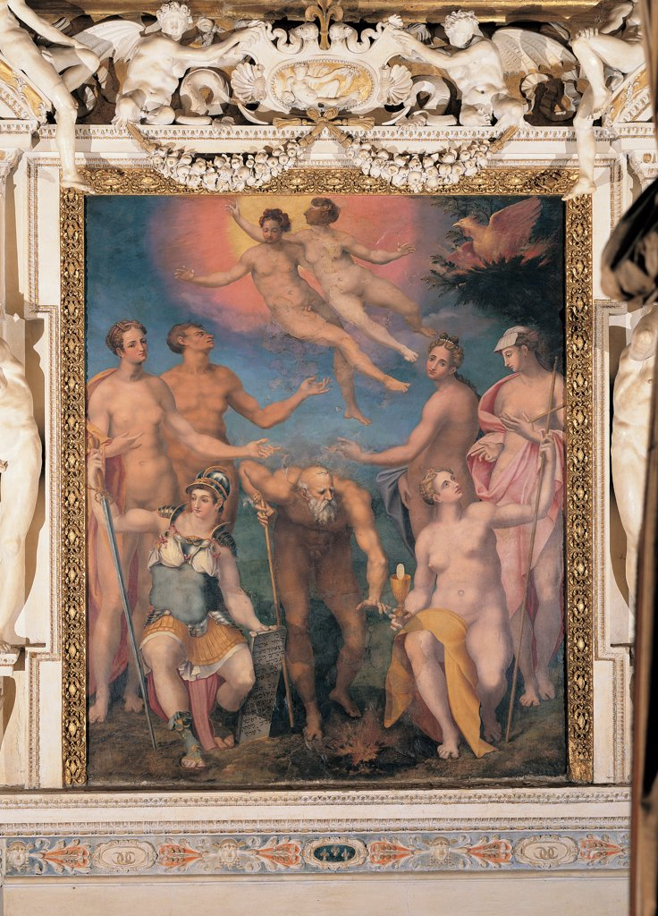 Stock Photo: 1899-45058 Element Fire, by Mazzoni Giulio, 1550, 16th Century, fresco. Italy: Lazio: Rome: Palazzo Spada: Stanza delle Quattro Stagioni e dei Quattro Elementi. Whole artwork. Frame/cornice stuccoes marble human figures caryatides garlands festoons old man Hephaestus Vulcan god of fire woman soldier armor/cuirass helmet lance/spear shield Athena goddess young girls bridesmaid flying figures sky sun light pink blue red yellow black white